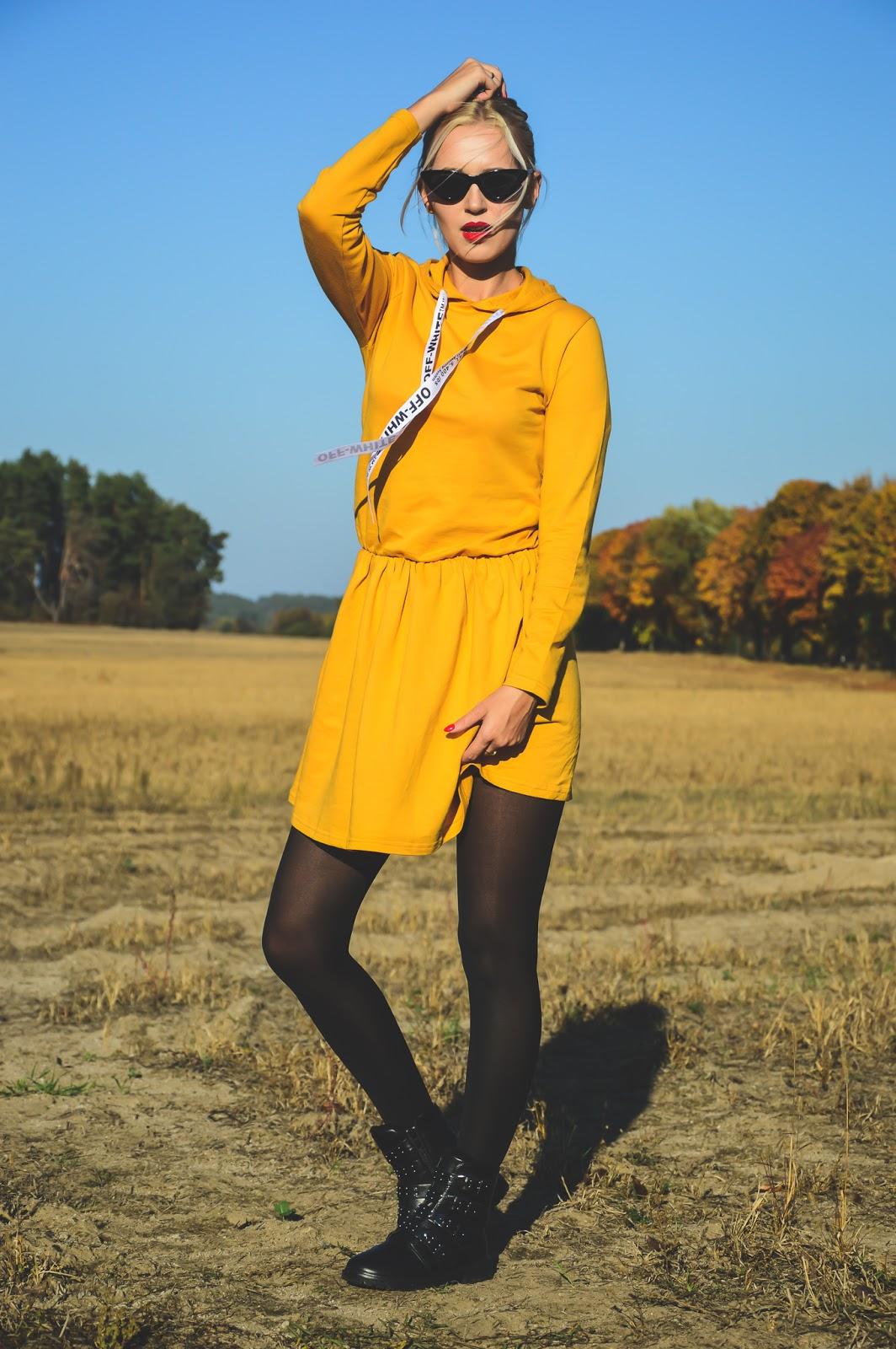 Jesienny look - musztardowa sukienka + czarne botki