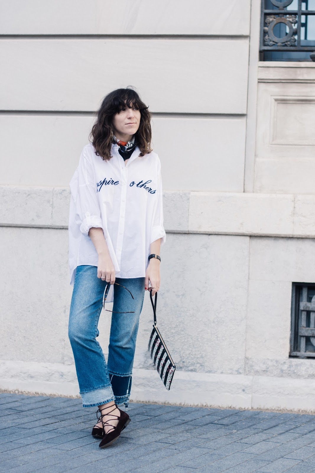 camisa Zara, flared jeans, lace up flats & Other Stories