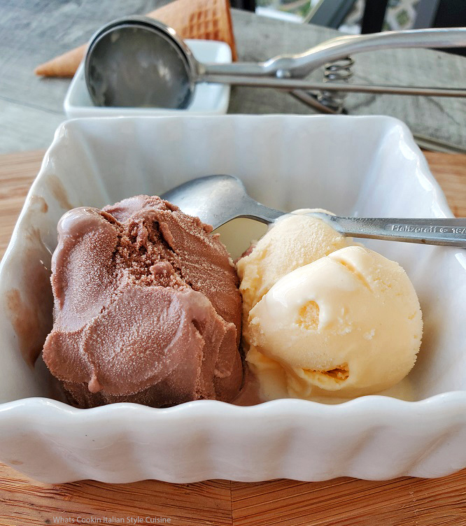 this is a white dish of a scoop of chocolate and vanilla ice milk