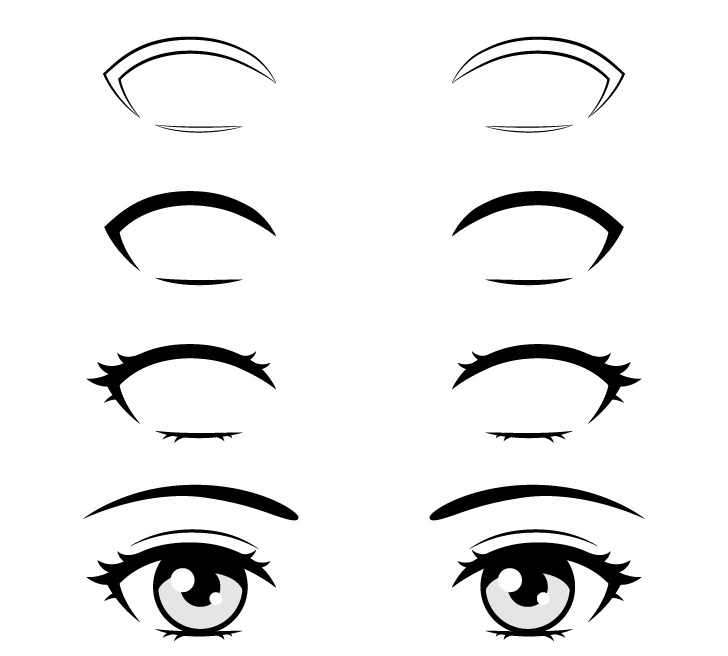 Bulu mata anime menggambar selangkah demi selangkah