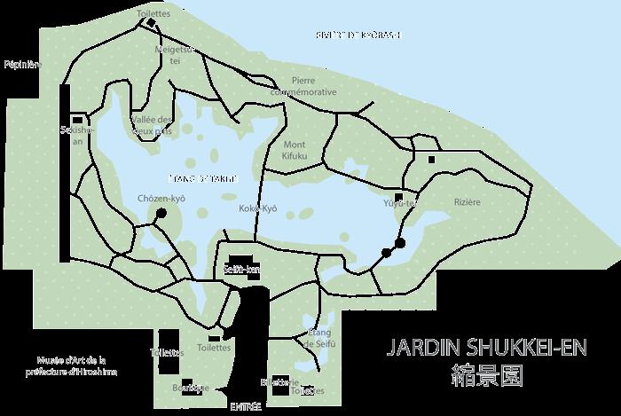 Plan, jardin shukkei-en, Hiroshima-shi