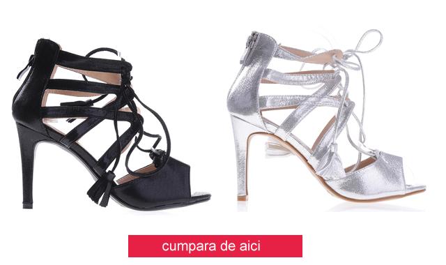 Sandale cu toc inalt si siret negre, argintii ieftine de ocazii