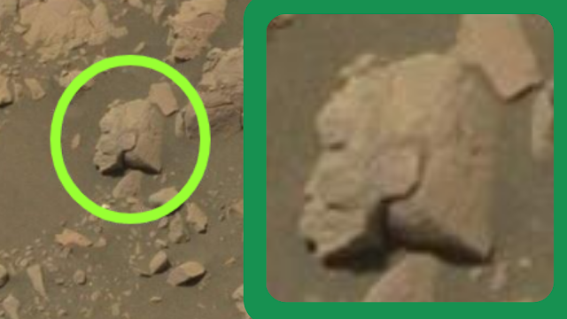 Strange head of a Pharoah statue is on Mars, that's it doing there.