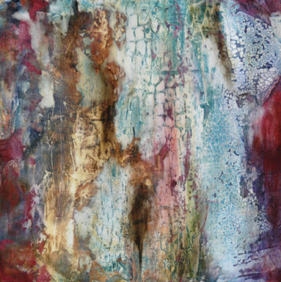 rich texture and layers in painting by Sandra Duran Wilson