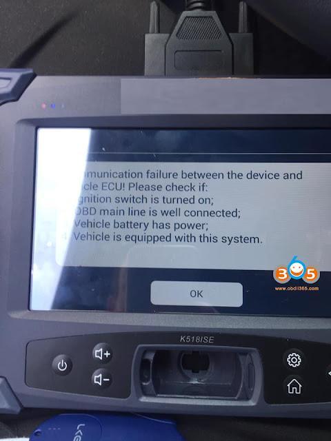 Lonsdor K518ISE Toyota Camry 2018 AKL Communication Failure Solution