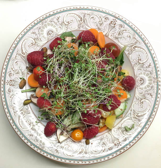 Photo of a large, colorful, salad topped with Hamama microgreens