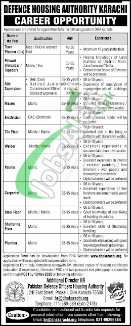defence-housing-authority-dha-karachi-jobs-2020-application-form