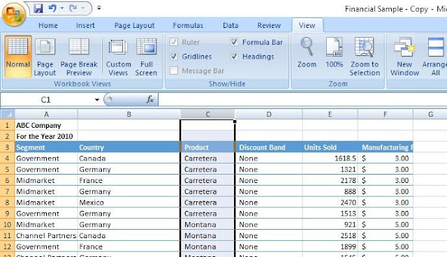How to freeze a column in excel