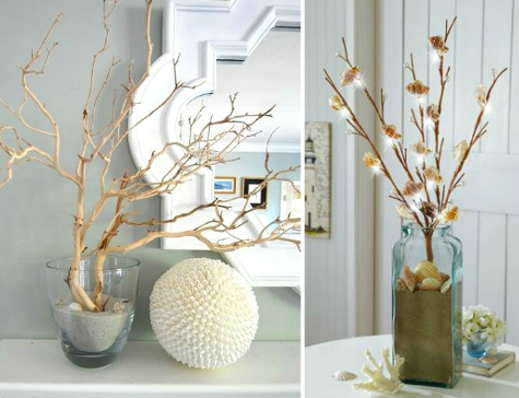 Branch Decor decorating with branches coastal style | faux coral & shell
