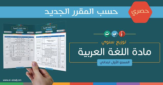 التوزيع السنوي لمادة اللغة العربية حسب المقرر الجديد - الأول ابتدائي