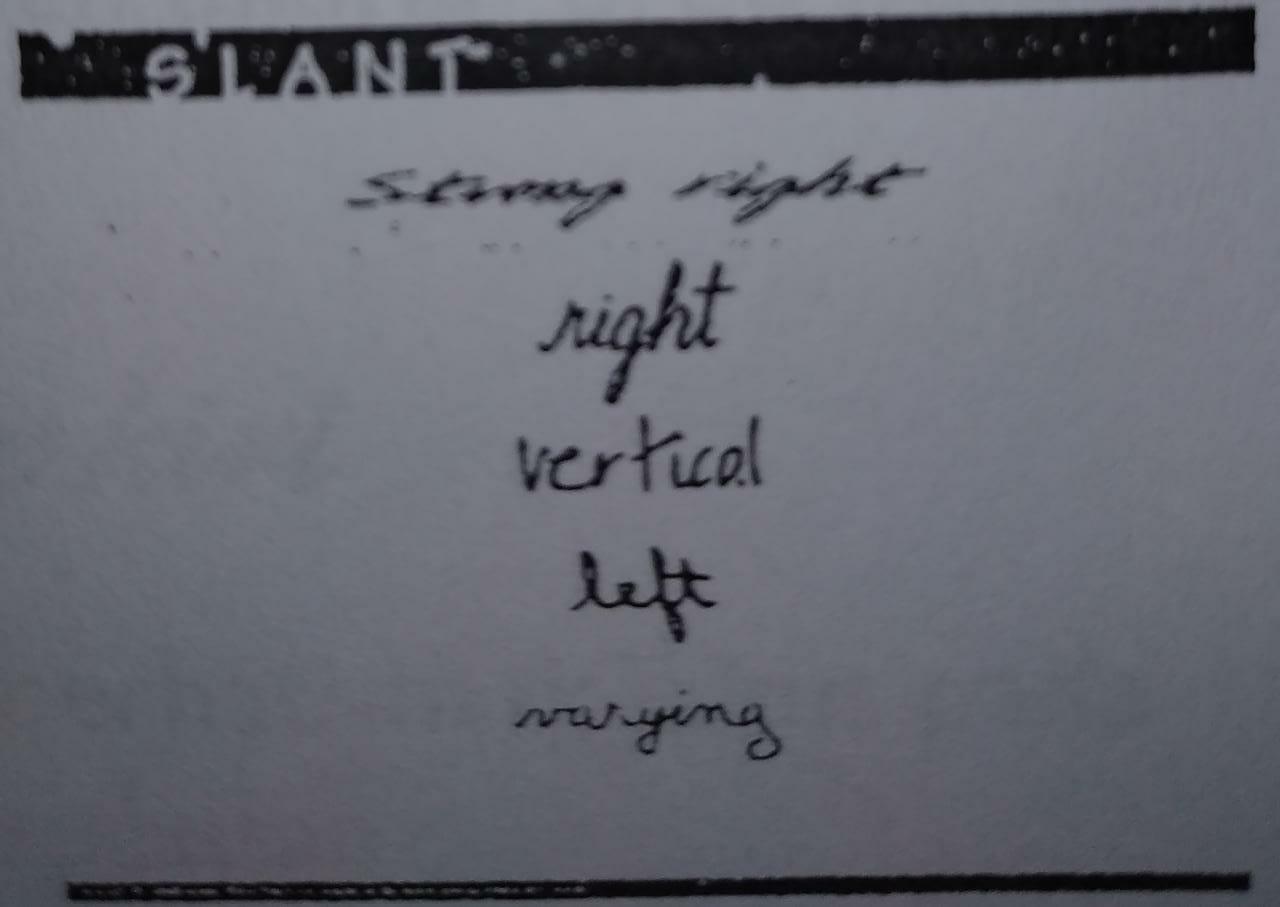 contoh slant pada grafologi