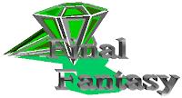 Final Fantasy, texto y dos gemas verdes