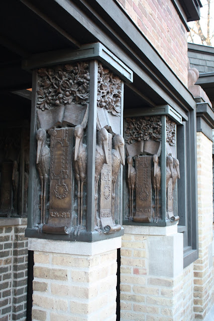 Intricate columns outside the Frank Lloyd Wright Home.