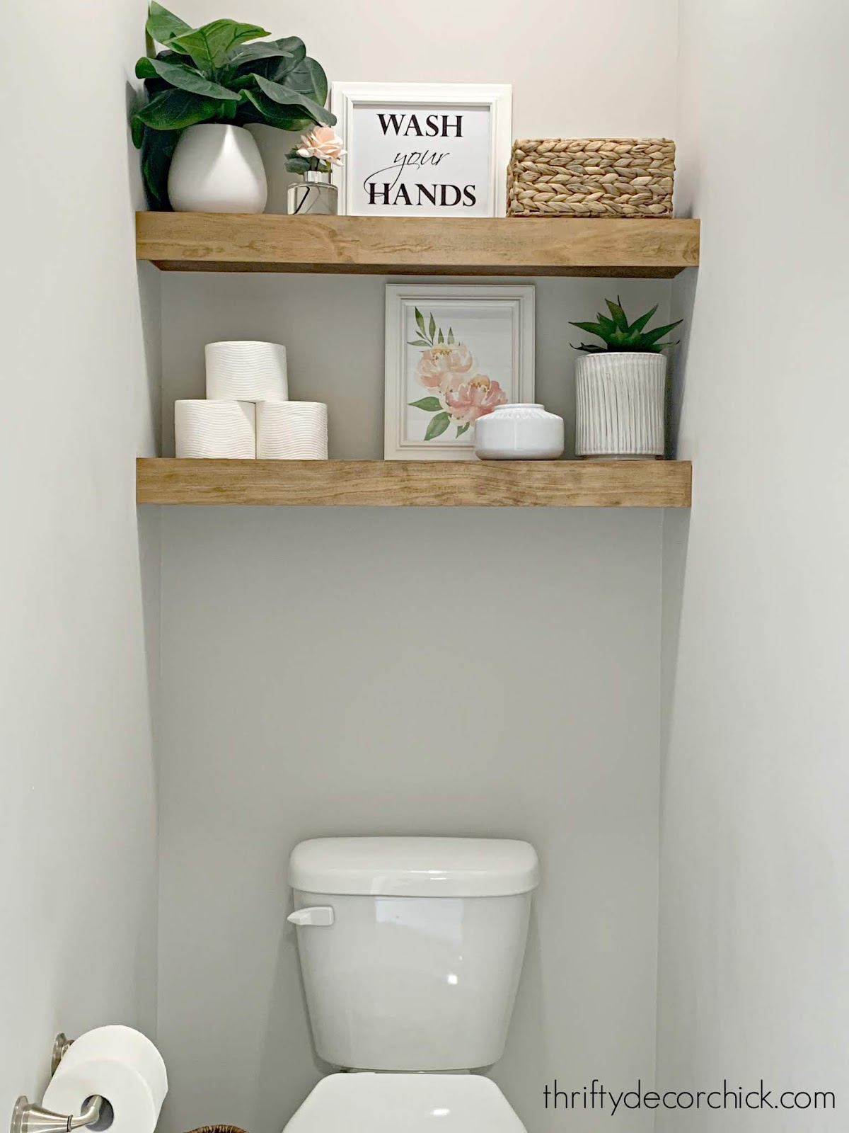 Decorating wood shelves in bathroom