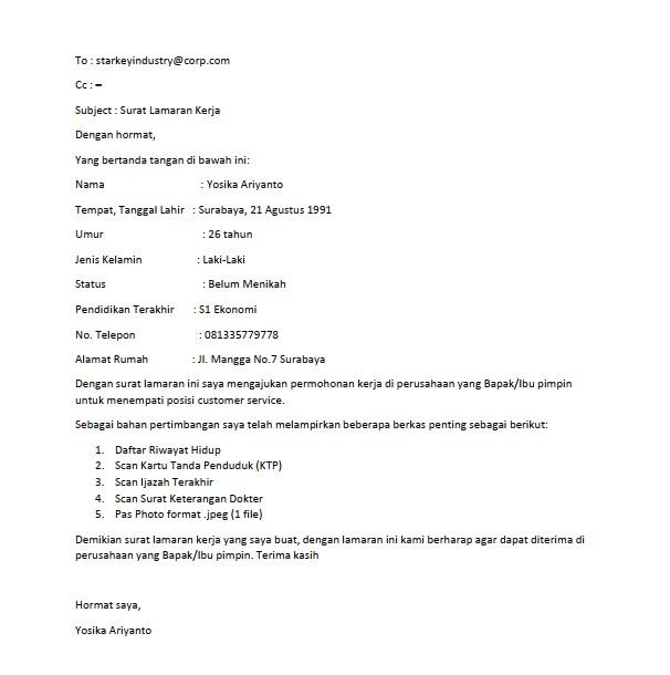Contoh Surat Lamaran Kerja Email (via: mamikos.com)