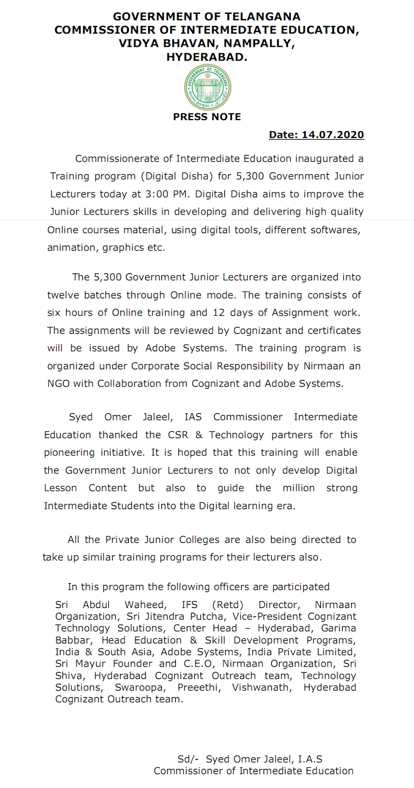 Telangana Intermediate Board Online Teaching Inauguration Notification