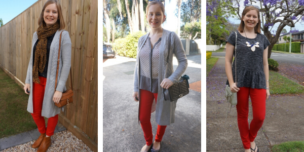 3 outfit ideas neutral pieces and red skinny jeans | away from the blue