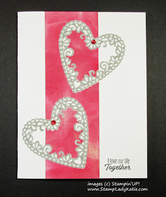 Anniversary Card made with Stampin'UP! Be Mine Stitched Thinlets Silver Glimmer Inlay Technique