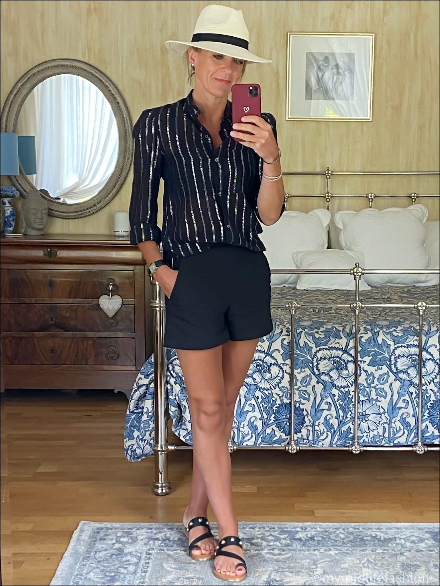 my midlife fashion, Carvela karafe sandals, Zara Panama hat, Isabel marant etoile metallic stripe voile blouse, Zara shorts