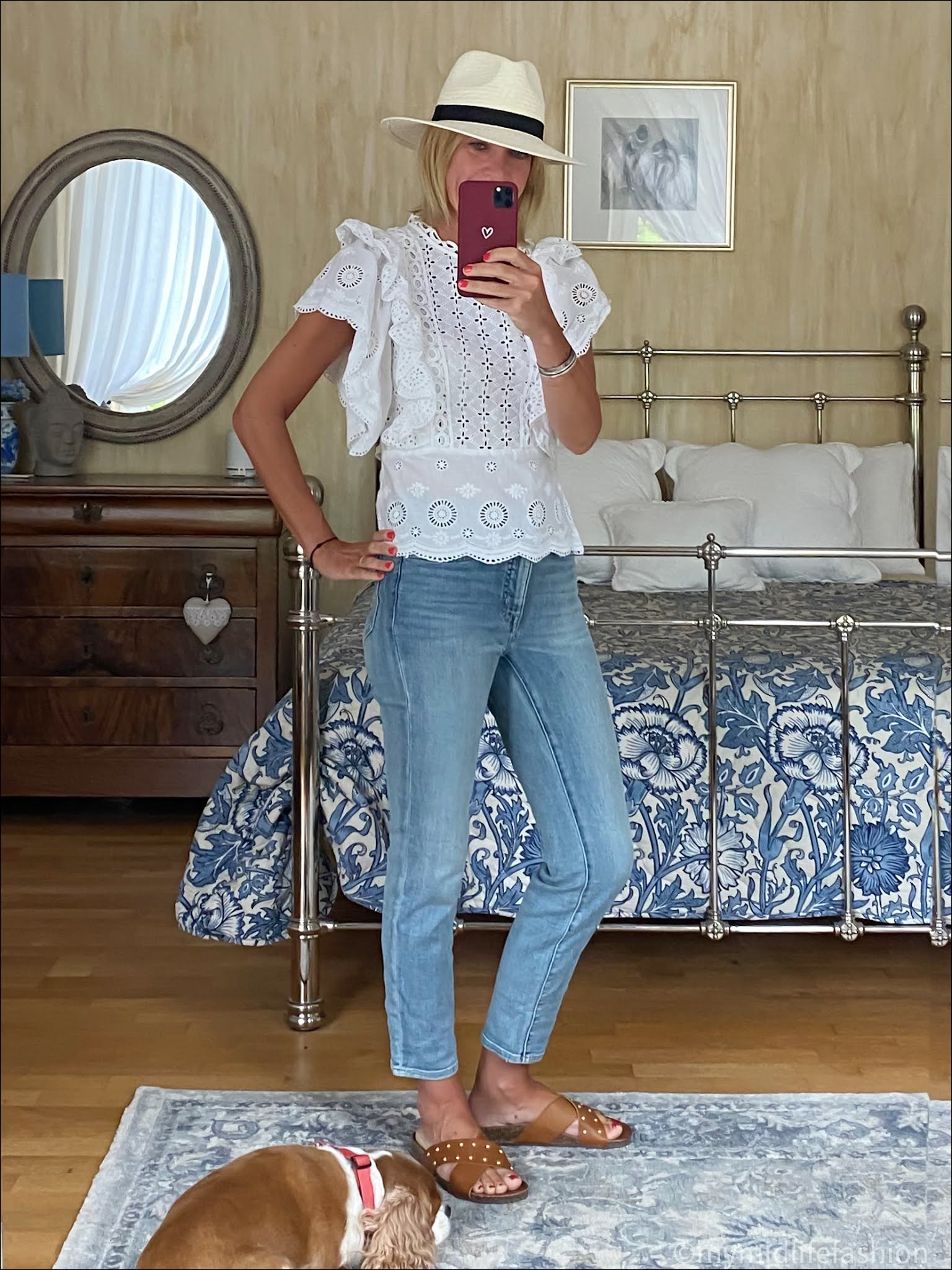 my midlife fashion, Zara Panama hat, monsoon broderie anglaise blouse, Ralph Lauren cropped straight leg jeans, basalt studded leather slides