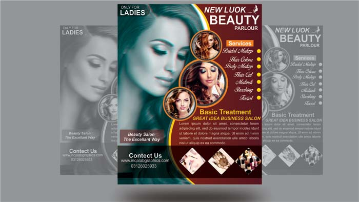 Beauty Salon Brochure Template Download Free Psd And Cdr File Beauty Parlour Pamphlet Design