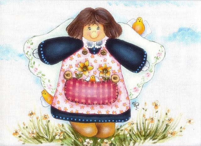 pintura em tecido country folk art patch apliqué