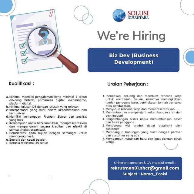Lowongan Kerja Medan D3 Juli 2021 PT Solusi Nusantara