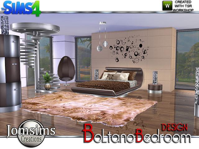 Boltano Design Bedroom Болтано Дизайн Спальня для The Sims 4 Чтобы вернуться к современному стилю и дизайну, здесь спальня BOLTANO. Современные линии, в тонах, бордовых, черных, белых или коричневых и вне курса металла, потому что вы знаете, что я люблю металлическую текстуру. ТАК, в этом наборе. 1 двуспальная кровать 1 конец табл.1 металлический потолочный шаровой свет.1 комод. 1 настенная наклейка черная. 1 настольная лампа.1 торшер.1 металлическая лестница деко. подушки для кровати. 1 яйцо Все необходимое. Для любителей современного. Автор: jomsims