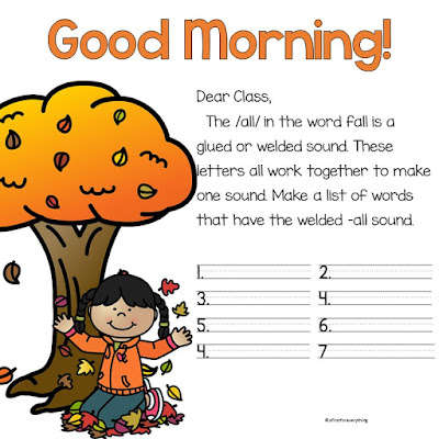 Morning Messages for kindergarten and first grade that are fully prepared with great ideas and content for ELA and Math review. Great for the morning meeting and the Responsive Classroom. Fully editable for customization. Turn on the interactive whiteboard and it's done!