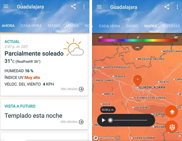 AccuWeather aplicación para conocer el clima