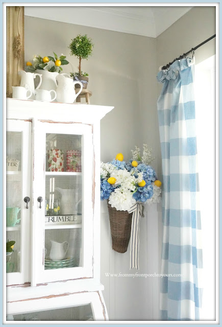 Cottage-English-Country-Hydrangeas-Floral-Arrangement-Lemon-French- Country -Farmhouse- Dining -Room- Late -Summer- Decor-From My Front Porch To Yours