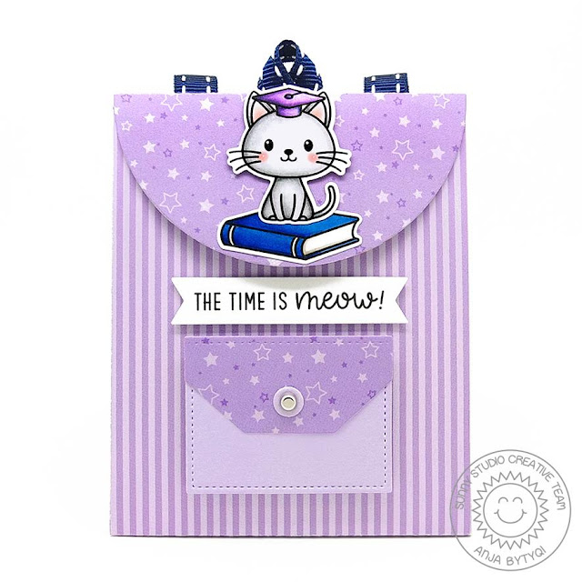 Sunny Studio Stamps: Grad Cat Sweet Treat Bag Dies Build-A-Tag Dies Graduation Themed Gift Bag Anja Bytyqi