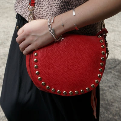 Rebecca Minkoff studded unlined saddle bag in cherry red | away from the blue