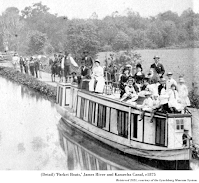 Photograph detail, 'Packet Boats,' James River and Kanawha Canal, c1875. Retrieved 2021, courtesy of the Lynchburg Museum System.