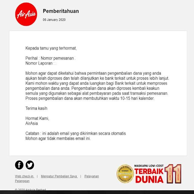 Email pemberitahuan Refund Tiket Air Asia