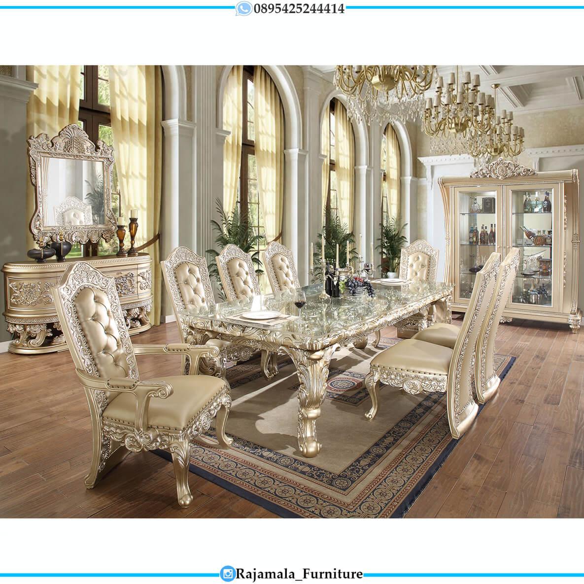 Set Meja Makan Mewah Terbaru Ukiran Jepara Beuty Luxury Design RM-0457