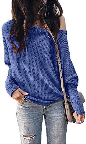 Womens Casual Tops Long Sleeve Blouse Off Shoulder   60%Off