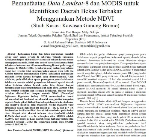Pemanfaatan Data Landsat-8 dan MODIS untuk Identifikasi Daerah Bekas Terbakar [Paper]