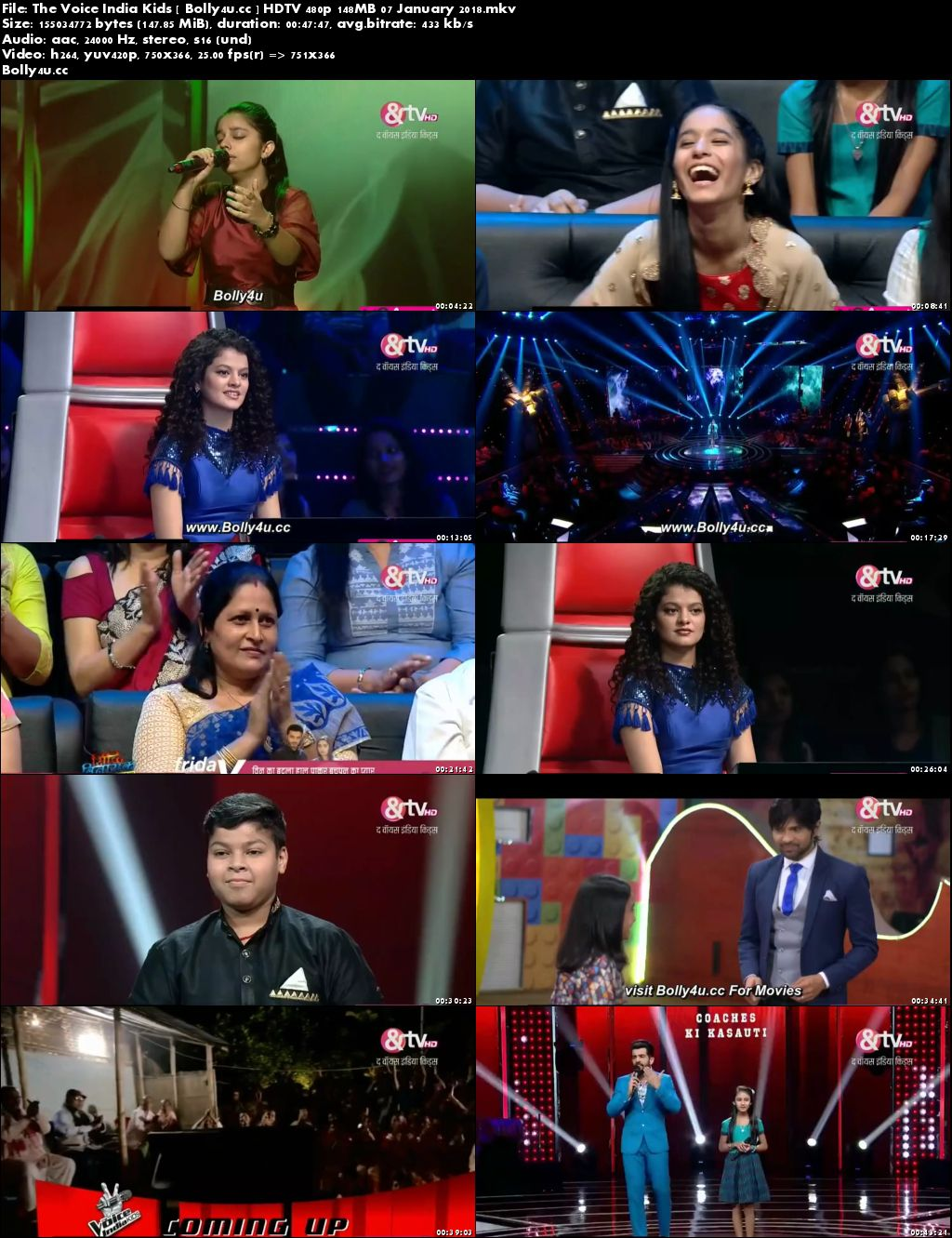 The Voice India Kids HDTV 480p 150MB 07 January 2018 Download