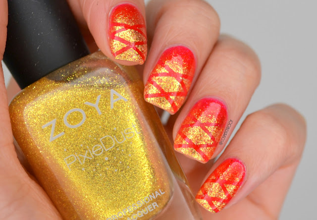 Red and Yellow Taping Gradient Nail Art