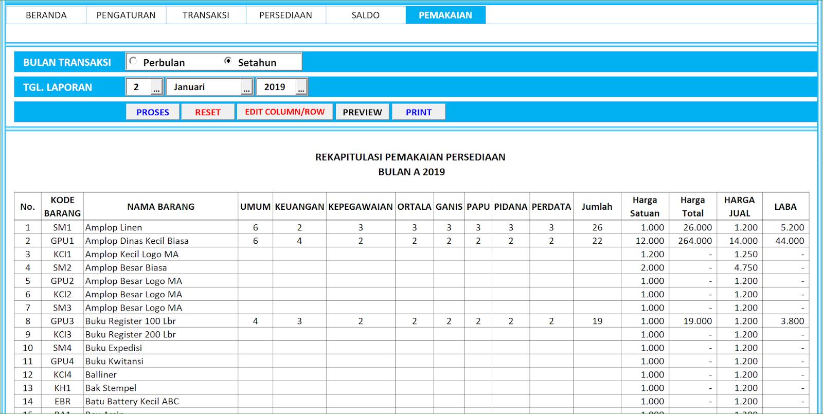 Aplikasi Excel Laporan Stock Persediaan Versi 4 A B I