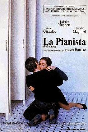 cartel promocional de la película La pianista, dirigida por Michael Haneke