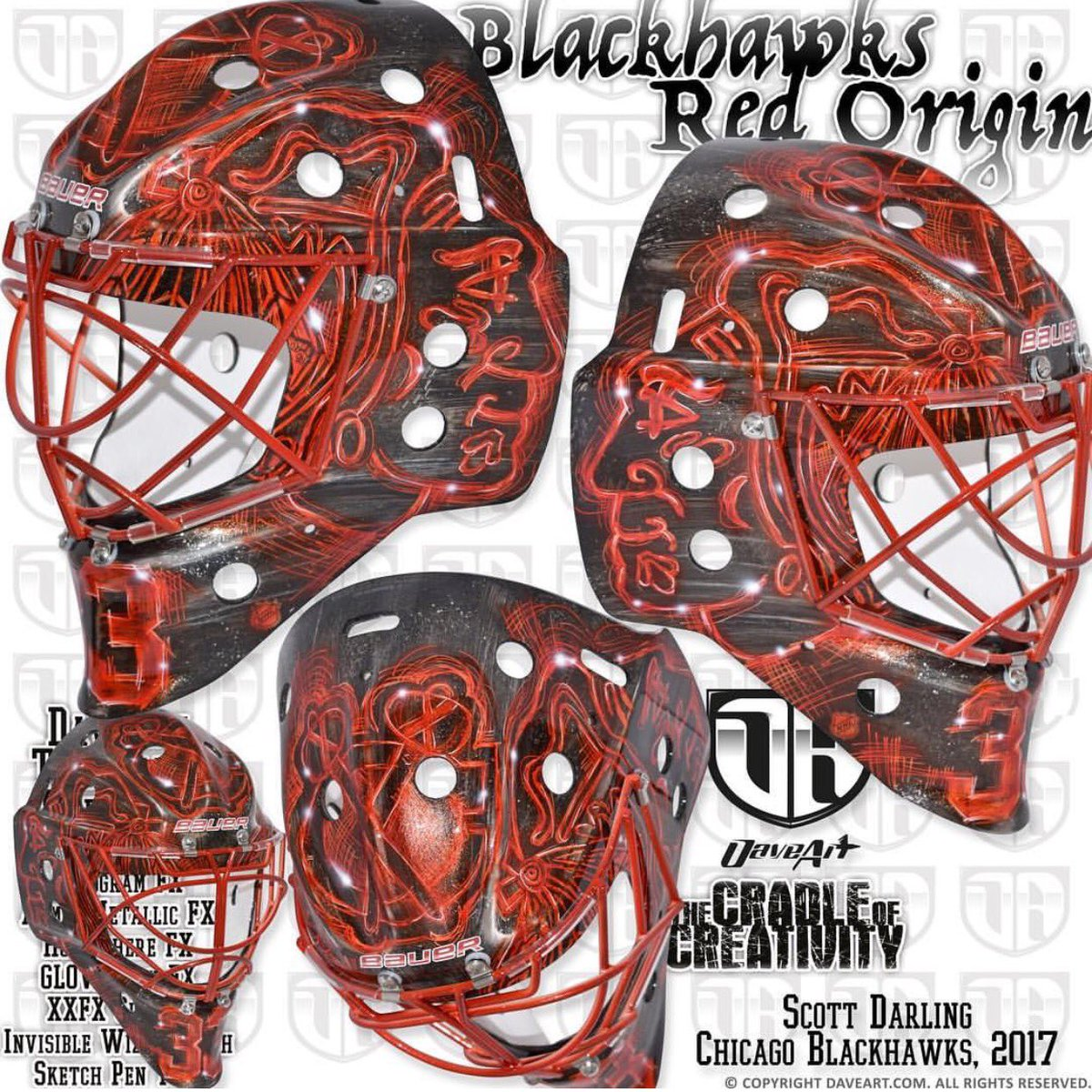 I love goalies scott darling 2016 17 mask darling started wearing this mask in march the blackhawks logo but in a red sketch style maxwellsz