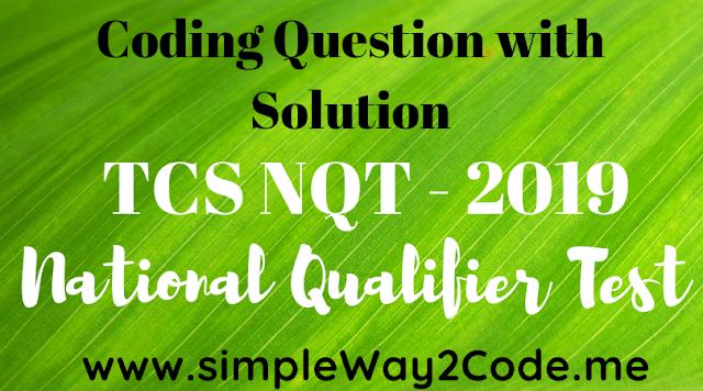 TCS NQT Coding Question