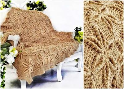 Colcha floral con volumen en 3D tejida a crochet