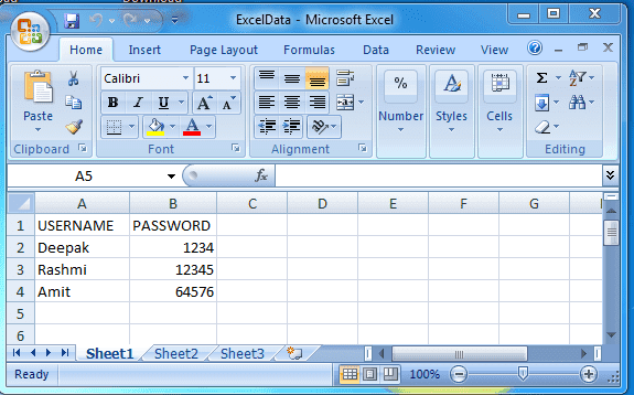Excel file to read data from cell using iterator