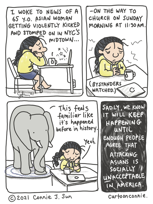 Journal comic about recent violent hate crimes against Asians in America, by Connie Sun, cartoonconnie