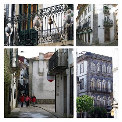 imagens de edifícios e peregrinos de Santiago em Valença do Minho