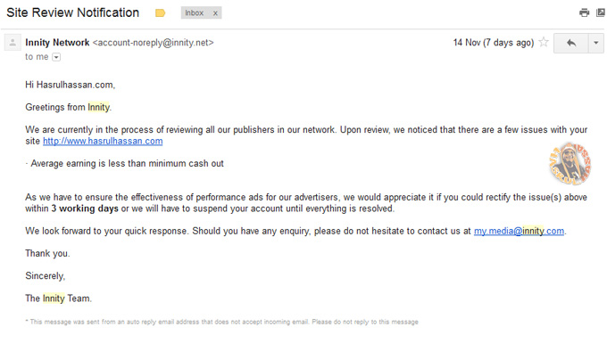 Email amaran daripada pihak Innity untuk Blogger