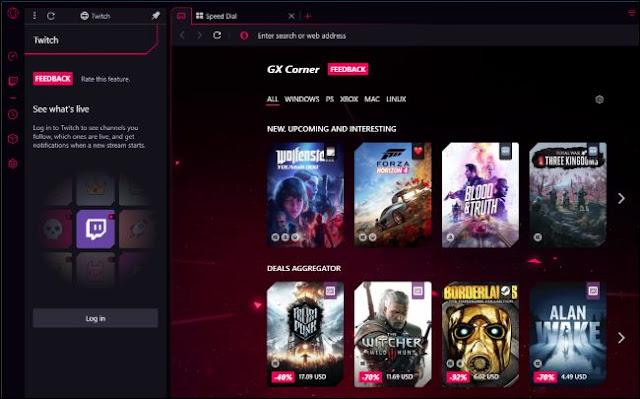 Opera GX Corner و Twitch الشريط الجانبي